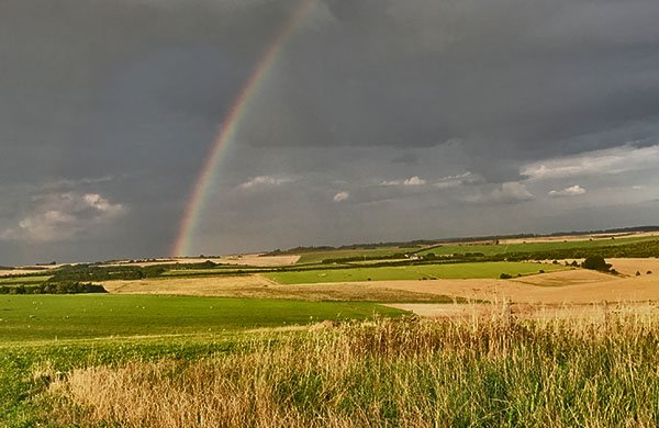 Rainbow over fields