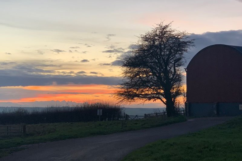 sunset at Sheepdrove